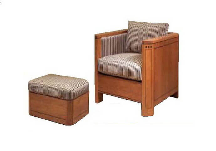 antique_oak_wood_rattan_frame_upholstered_chair_with_ottoman_high_density_foam