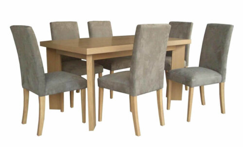 nordic_style_ash_wood_veneer_upholstery_hotel_dining_table_with_six_chairs